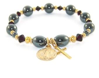 Saint Benedict Anglican Wrist Rosary - Chaplet Prayer Bracelet