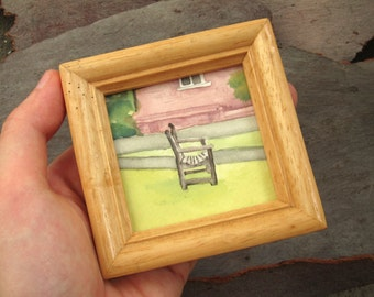 Small Bench - framed original watercolour painting