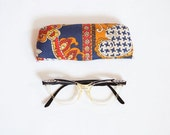 1950s Liberty Cat Eye Frames with metal details and Original Paisley Print Fabric Case RESERVED FOR Bunny Bush