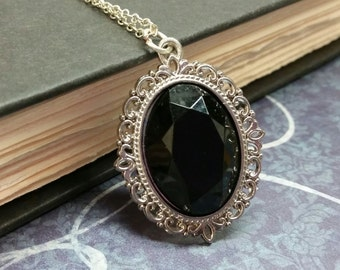 Black Faceted Stone necklace