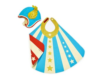 Superhero Cape and Wing Hat - Superhero Costume - Flying Costume - Birthday Gift Boy - Superhero Gift Boy - Blue Reversible Cape