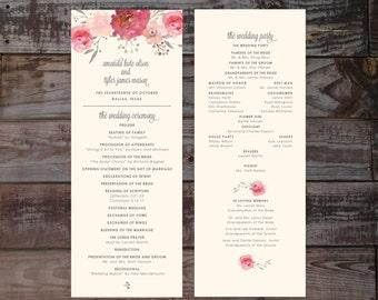 Vintage wedding programs, floral wedding programs, wedding ceremony programs, elegant wedding programs, vintage wedding programs, blush