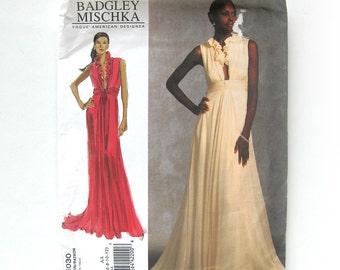 Vogue 1030 Elegant Evening Gown by Badgley Mischka Sexy DESIGNER - Plunging Neckline Occasion Gown / Size 6-8-10-12 / UNCUT FF