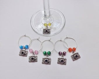 Camera Wine Charms Stem Markers set of 6 silver pewter glass beads USA-made