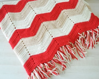 amazing chevron design crochet afghan coverlet blanket / vintage afghan / red, white, tan