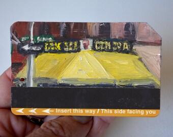 ART Original Oil Painting NYC CBGB Club Upcycled Subway Card Framed