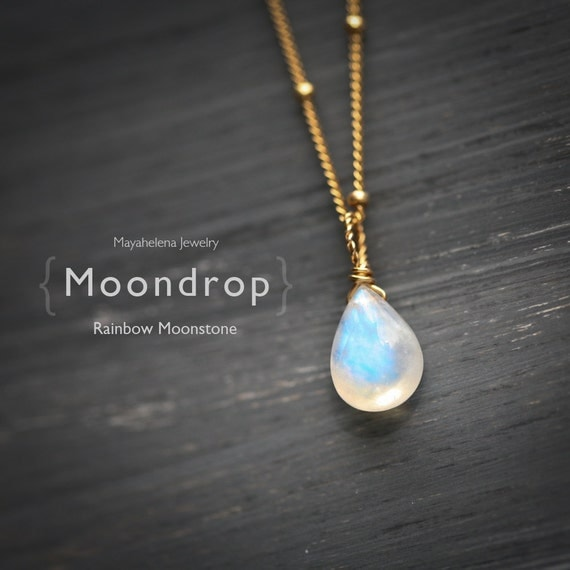 Moondrop - Smooth Rainbow Moonstone Briolette Wire Wrapped 14k Gold Filled Necklace