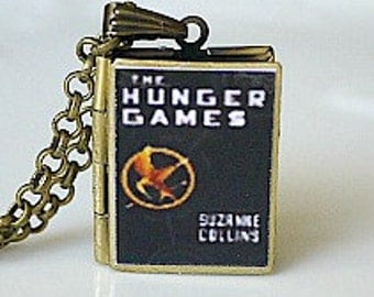 The Hunger Games, Suzanne Collins, Book Cover Locket, Katniss Everdeen, New York Times Best Seller, Literary Locket, Novel Jewelry, Reader