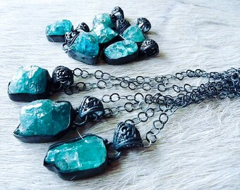 SALE Apatite necklace | Raw apatite necklace | Apatite pendant | Rough apatite necklace | Blue Apatite stone necklace | Charm necklace
