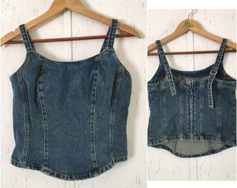 Vintage 80's Denim Cropped and Fitted Corset Style Tank s/xs