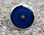 Mustard Seed Ring - Metallic Blue on Bright Silver - Blue Mustard Seed Ring - Mustard Seed Jewelry - Mustard Seed Faith - Adjustable Ring