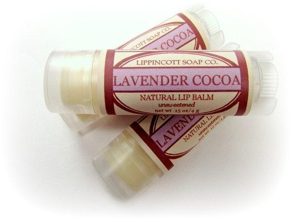 Lavender Cocoa Lip Balm, All Natural Lip Balm, Beeswax Lip Balm, Lavender Chocolate Lip Balm, Lavender Essential Oil, Natural Chocolate Oil