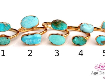 Turquoise stones ring 24K Gold Plated- custom size - pick your design