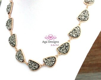 SALE  ~ Druzy Necklace - wedding jewelry -  pick your color - now 50% off