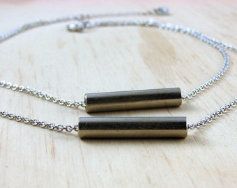 Minimalist Necklace Industrial Metal Tube Hardware Jewelry and Eco Friendly
