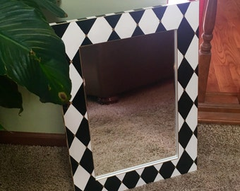 Painted mirror // black and white harlequin mirror // whimsical painted wall mirror