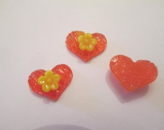 25 Resin Red or Green Heart Flat Back Buttons Scrapbooking Craft Supplies