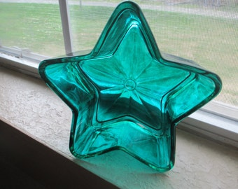 Teal Hand Painted Glass Stained Star Home Decor