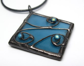 Blueberry Breeze - Stained Glass Pendant