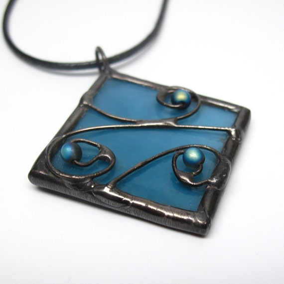 Blueberry Breeze Stained Glass Pendant