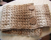 Button Infinity Scarf in Beige