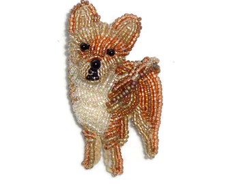 Tiny Beaded CHIHUAHUA Keepsake Dog Pin Pendant Art Jewelry / Ready to Ship (a)