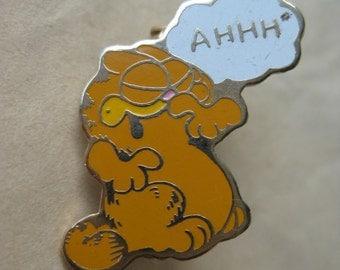 Garfield AHHH Pin Gold Vintage Brooch