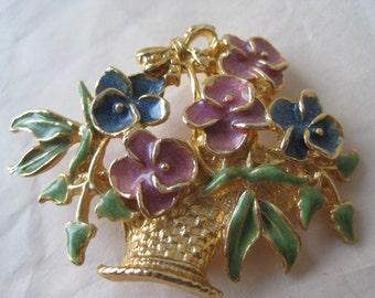 Flower Basket Mauve Blue Brooch Gold Vintage Pin