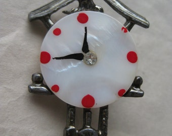 Cuckoo Clock Brooch Mother of Pearl Silver White Red Vintage Pin