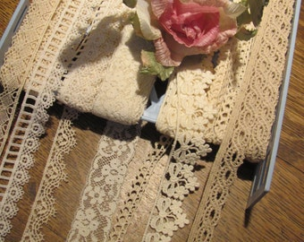 Lot of 7 narrow To Medium lace Pieces, Doll Lace  Lot A