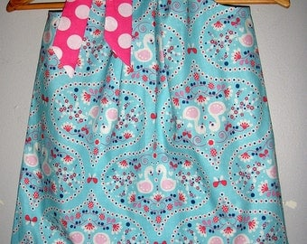 Dress  Pillowcase girl Aqua  PINK floral  Riley Blake fabric   pillowcase dress  3,6,9,12,18 months ,2t,3t,4t,5t,6,7,8,10,12