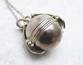 Vintage Sterling Orb Locket Ball Pendant Necklace N6891