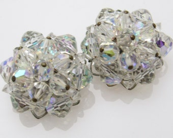 Vintage Crystal Bead Button Earrings Fifties Jewelry E7344