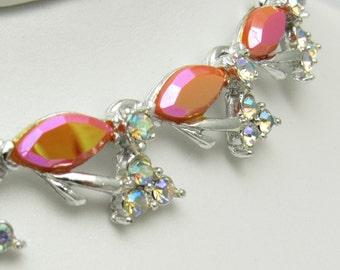Pink Rhinestone Necklace Vintage Jewelry N7446
