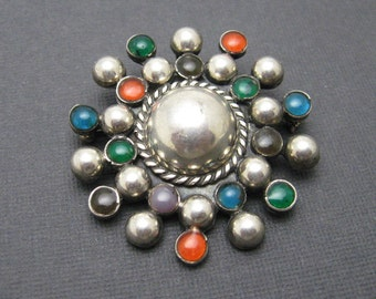 Sterling Starburst Brooch Pendant Mexican Vintage Jewelry P7035