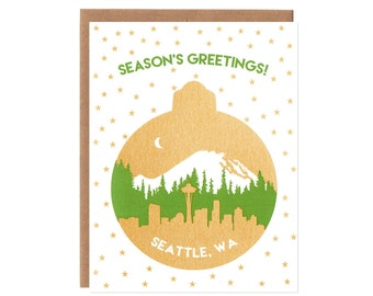 Seattle Skyline Die Cut Ornament Card -- Your Choice of Navy or Gold