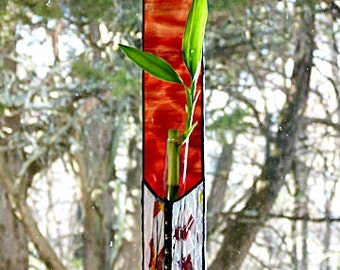 Fire Red, Stained Glass Panel, Bamboo Plant, Hanging Window, Suncatcher, Planter