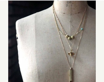 50% Off Layering Necklaces, Minimal, Gold Brass, Modern Pendants, Whistle, Layered, Sparkly, Orb Pendulum