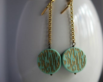 Mint Green Earrings, Retro Dangles, Mod, Mid Century Modern, Aqua Green, Gold Brass, Gold Etched