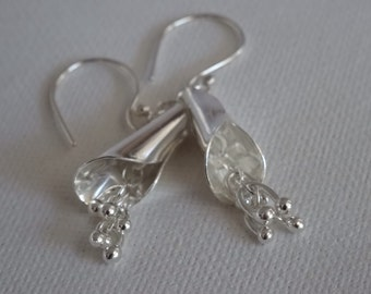 Bell-flower sterling silver earrings