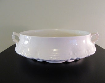Vintage white ironstone serving dish with side handles- Homer Laughlin, light crazing, otherwise good vintage condition
