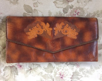 1940's 50's giant Meeker Steerhide tooled leather clutch purse brown tan