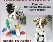 Australian Shepherd Made to Order Christmas Ornament Figurine Porcelain