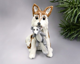 Siberian Husky Red Christmas Ornament Figurine Porcelain