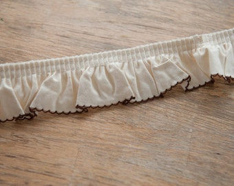 Brown Scallop Ruffle  - 3 yards Vintage Fabric Embroidered Scalloped Trim New Old Stock Doll Making