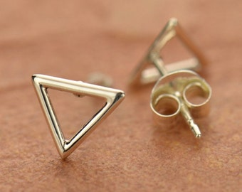NEW - Sterling Silver Triangle Post Earrings - Solid 925 - Insurance Included