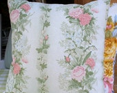 Cushion antique French floral pink and green