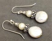 Coworker Gift Coin Pearl Earrings Dangle Earrings Bali Sterling Silver, Freshwater Pearls-  Teacher Gift, friend, sister