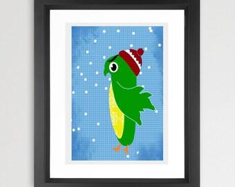 Owl in the snow art print  -  Kids Art Prints, winter owl,  nursery decorating ideas, nursery owl, green owl, snow, owl in snow