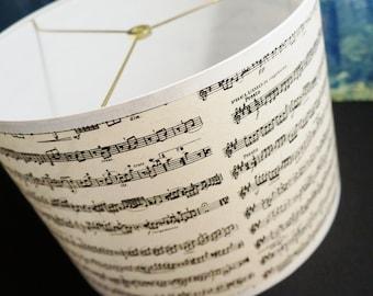 drum lamp shade black and white music print